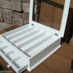 Schmuckkasten-weiss-Schmuckbox-Naehkasten-Schatulle-Holzbox-Shabby-Glas-909