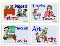 Centers Assignments Mini Cards Pocket Charts Choose from a variate of cards to label your centers English / Spanish Subscription gives you access to print all our materials - several thousand pdf's www.thelearningpa...