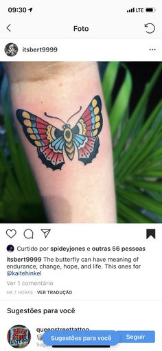 Traditional Butterfly Tattoo, Watercolor Tattoo, Tattoos, Tatuajes, Tattoo, Temp Tattoo, Tattos, Tattoo Designs