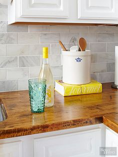 DIY Kitchen Ideas | Kitchen with stained IKEA butcher block counters