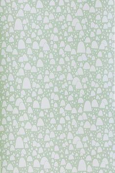 Ferm Living Mountain Tops -tapetti, vihreä/valkoinen