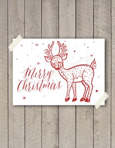 Red Merry Christmas Deer Christmas Card A2 by BumbleNBirch on Etsy