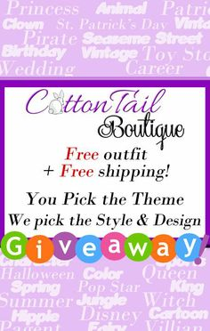 CottonTail Boutique Custom Outfit Giveaway - Ends 4/7/2014   Open to customers worldwide. No Purchase Necessary. See Official Rules on entry form. #CottonTailBoutique