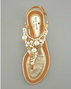Kate spade pearl sandals. adore these.. Pearl Sandals, Shoes Sandals, Shoe Boots, Gold Sandals, Pearl Shoes, Flat Sandals, White Sandals, Strappy Sandals, Kate Spade Sandals