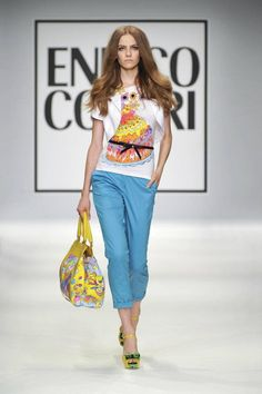 Spring/Summer 2013 - Enrico Coveri - Classic summer look with some bright colored pants