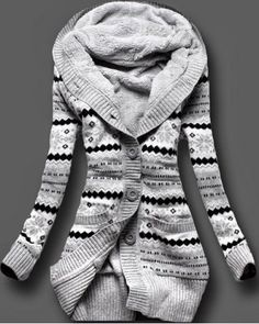 It's winter. This looks cosy. Enough said. :: Stylish Hooded Long Sleeve Geometric Single-Breasted Women's Cardigan