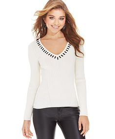 XOXO Juniors' Beaded Ribbed Sweater