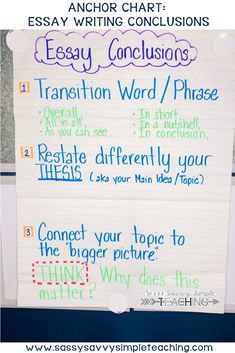 Essay Writing Conclusion Anchor Chart - Essay Writing Concluding Paragraph Chart - Closing Paragraph of Essay - Conclusion #essaywriting #anchorchart #conclusionparagraph #writingstandards #writingconclusion