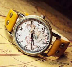 Woman Man Leather Watch Vintage Map RJ008 by Romegrace on Etsy, $17.99