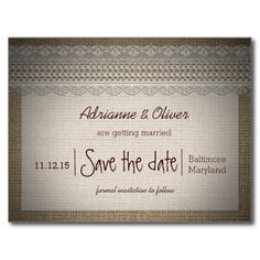 Rustic Country | Burlap Lace Save the Date