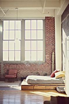 Brick, bed platform with drawers, color palette