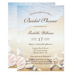 Tropical Beach Wedding Starfish Bridal Shower Card Customizable Invitations #beach #summer #wedding #invitation