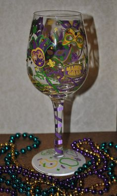 6bd16a1536f Mardi Gras Painted Wine Glass by FairyDustBakery on Etsy