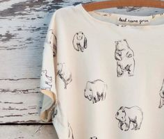 #adorable #cute #casual #t-shirt #top #etsy #printed #bear print #graphic #pattern