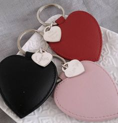 Personalised Silver Heart And Leather Keyring