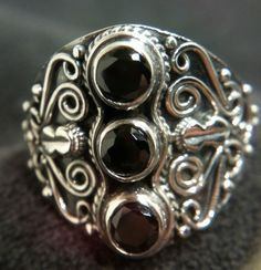 New Unique 925 Solid Sterling Silver Black Onyx Ring Gothic Style s8 Great Gift!