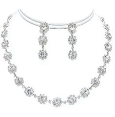 Clear Crystal Tennis Necklace Set Silver Plated Bridesmaid Jewelry Nicely Boxed * Details can be found by clicking on the image.