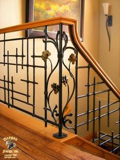 Dragon Forge in Colorado does some amazing work. _____________ American Craftsman Slit and Drift Railing with Art-Deco Pinecones - Dragon Forge - Colorado Blacksmith House Design, Railing Design, Art Deco, Stair Railing Design, Blacksmithing, Stairs Design, Iron Railing, Stairs, Grill Design