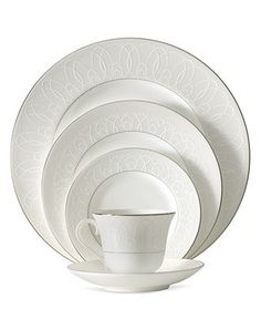 """Waterford """"Ballet Icing Pearl"""" Dinnerware Collection - Fine China - Dining & Entertaining - Macy's Bridal and Wedding Registry White Dinnerware, Ballet, Waterford Crystal, Dinner Sets, China Patterns, Place Settings, Table Settings, Fine China, China Porcelain"""