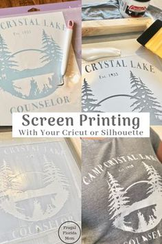 Screen Printing With Your Cricut Or Silhouette I www.FrugalFlorida I The post Screen Printing With Your Cricut Or Silhouette An Easy DIY Guide appeared first on Easy Crafts. Inkscape Tutorials, Cricut Tutorials, Pot Mason Diy, Mason Jar Crafts, Diy Simple, Easy Diy, Diy And Crafts, Crafts For Kids, Paper Crafts