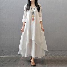 White Long Sleeve Maxi Linen Dress