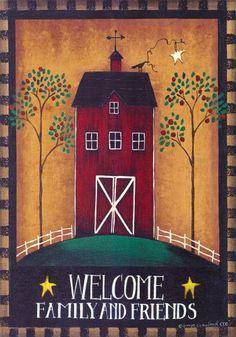 Amazon.com : Country Primitive Welcome Barn Garden Flag 12 x 18 : Outdoor Decorative Flags : Patio, Lawn & Garden