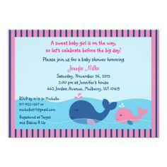 Nautical Pink Whale Baby Shower Invitation