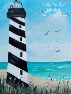 Lighthouse Beach Painting - Step By Step Painting - paints - How To Paint A Lighthouse Beach This acrylic tutorial will demonstrate step by step how to paint a - Beach Canvas Paintings, Simple Acrylic Paintings, Acrylic Painting Canvas, Art Paintings, Watercolor Painting, Ocean Paintings, Paintings Famous, Watercolor Tips, Matte Painting