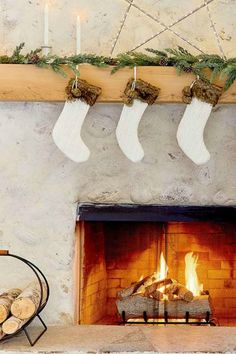 Cozy white Christmas decor and rustic fireplace - Emily Henderson for Target. Monochromatic Decor, Traditional Fireplace, Rustic Fireplaces, Beautiful Interior Design, Christmas Decorations, Holiday Decor, White Decor, Inspired Homes, Christmas Inspiration