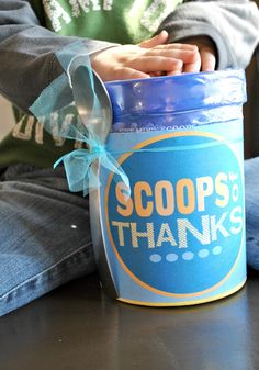 Thank someone in a sweet way using this ice cream gift idea. #happythoughts #thanks happymoneysaver.com