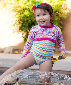 This Pink & Yellow Floral Chevron Rashguard & Bottoms - Infant, Toddler & Girls by Babi-Kini is perfect! #zulilyfinds