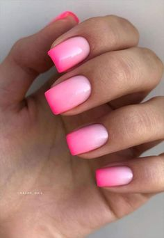 Acrylic Nails Coffin Ombre, Short Square Acrylic Nails, Short Square Nails, Best Acrylic Nails, Short Pink Nails, Cute Pink Nails, Pink Ombre Nails, Pink Tip Nails, Acrylic Nail Designs Classy