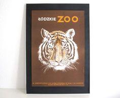 Original Zoo Advertising Poster- 1970s- tiger design- Lodzkie Zoo (Poland)