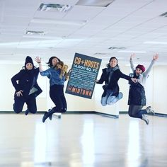Jenny and Co+Hoots team Jumping for excitement over the expansion of Co+Hoots to midtown April 2016