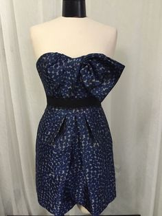 BCBG MAXAZRIA Performs Ink Blue Polkadot Women's Luxurious Dress Size 4 New! #BCBGMAXAZRIA #Bubble #Cocktail