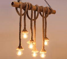 Suspension vintage bambou et 6 cordes – Zephyr Vintage Pendant Lighting, Vintage Chandelier, Lustre Retro, Suspension Vintage, Wall Lights, Ceiling Lights, Led, Candle Sconces, Man Cave