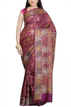 Dark Purple Hand Block & Kantha Tussar Silk Saree
