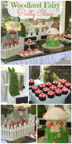 What an wonderful Woodland Fairy party, with mushrooms, and more! What an wonderful Woodland Fairy party, with mushrooms, and more! See more party ideas at CatchMyP Fairy Birthday Party, Garden Birthday, First Birthday Parties, Birthday Party Themes, First Birthdays, Birthday Ideas, Fairy Mermaid, Enchanted Forest Party, Fairy Tea Parties