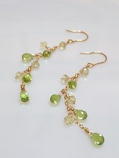Green gemstone briolette gold earrings