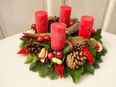 Adventskranz - Adventskranz frisch Adventskranz rot - ein Designerstück von missbellflower bei DaWanda