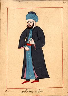 The 'Rålamb Costume Book' is a small volume by an undidentified Ottoman artist, containing 121 miniatures in Indian ink with gouache and some gilding, displaying Turkish officials, occu… Armenian Men, Muslim Culture, Museum Art Gallery, Medieval Clothing, Ottoman Empire, Historical Costume, British Museum, Alter, Miniatures