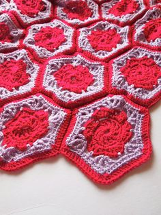 Granny square blanket with flower crochet blanket by mostlyjonah