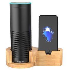 Peteast Echo Ständer, Bambus Holz Lautsprecherständer für Amazon Alexa Echo, Laden stehen für Amazon Echo und iPhone