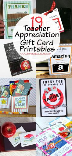 19 Teacher Appreciation Gift Card Printables - What they really want, but still cutesy!