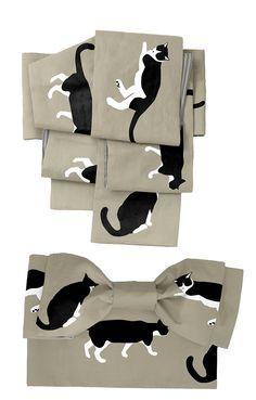 ハチワレ猫の柄リバーシブル半幅帯 | 着物、浴衣 さく研究所