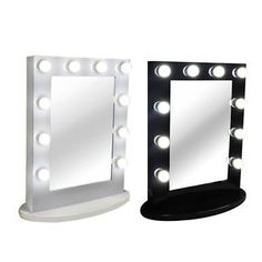 Hollywood Tabletops Makeup Lighted Mirror Vanity With Dimmer Free 10 Led Bulbs