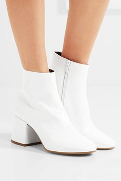 Maison Margiela - Patent-leather Ankle Boots - White - IT White Heel Boots, White Leather Boots, White Ankle Boots, Block Heel Ankle Boots, Leather Booties, Leather Heels, Knee High Boots, Heeled Boots, White Block Heels