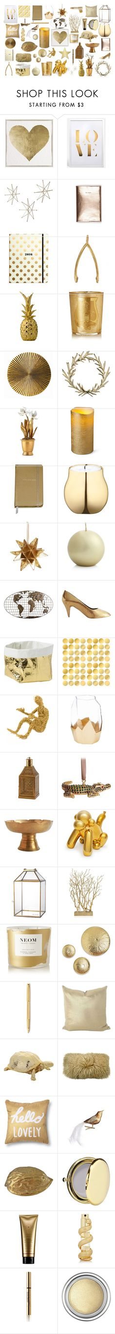 """Gold fillers"" by juliehalloran ❤ liked on Polyvore featuring Oliver Gal Artist Co., WALL, Kate Spade, Global Views, Bloomingville, Cire Trudon, Arteriors, Lunares, Tommy Mitchell and Improvements"