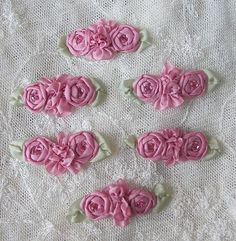6pc Chic Dusty Rose Pink Ribbon Applique by delightfuldesigner, $8.50