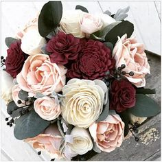 Sola flower bouquet, burgundy sola wood flower wedding bouquet ...